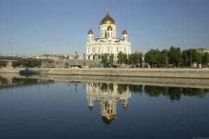 Храм Рождества Христова на Волхонке (Храм Христа Спасителя). Вид с берега реки Москвы (источник)